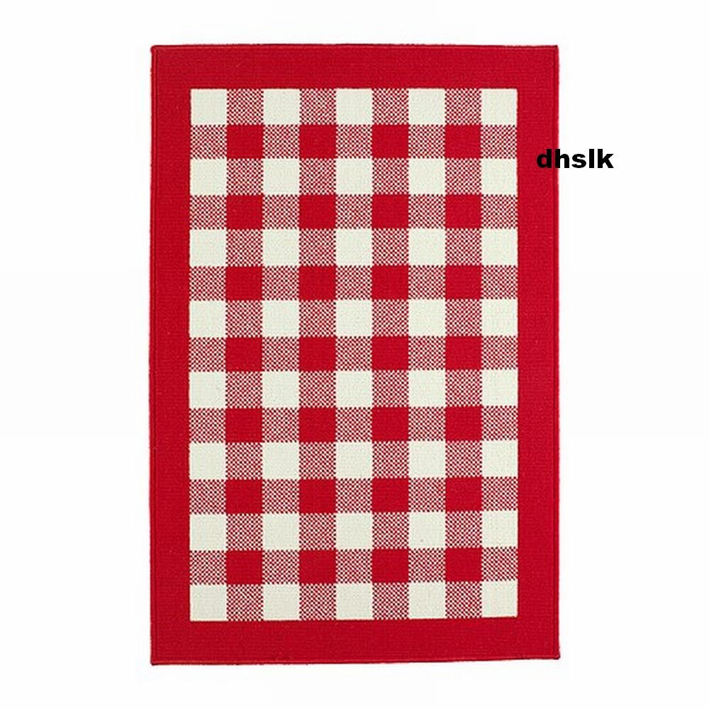 Ikea Millinge Checked Rug Area Throw Door Mat Low Pile Red
