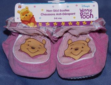 DISNEY WINNIE POOH BEAR Non-Skid BABY BOOTIES  PINK 6-12 months Girl Unisex Crib Shoes LAST ONES