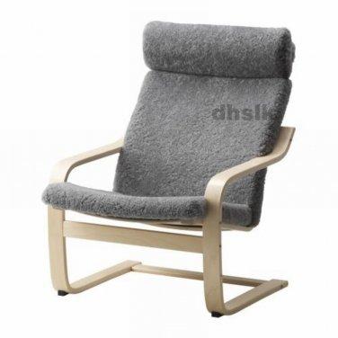 IKEA PO�NG Armchair CUSHION Lockarp GRAY Grey SHEEPSKIN Poang