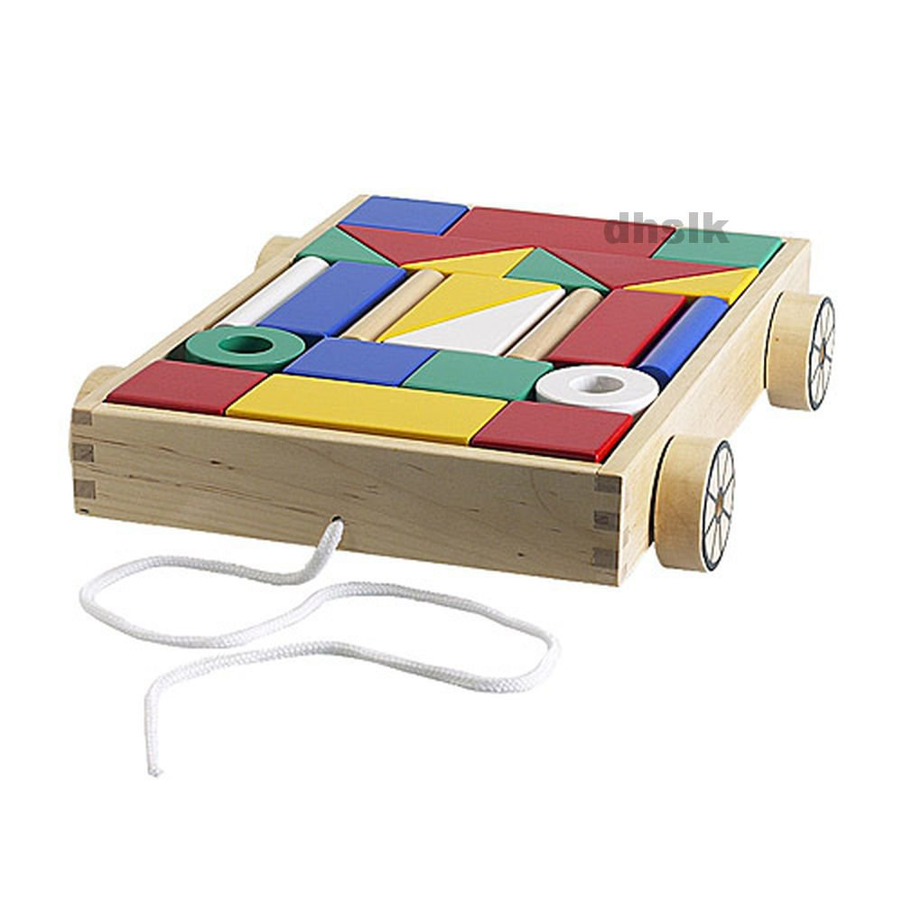 IKEA Wooden Wood BUILDING BLOCK Wagon Toy MULA Classic Preschool XMAS Toddler