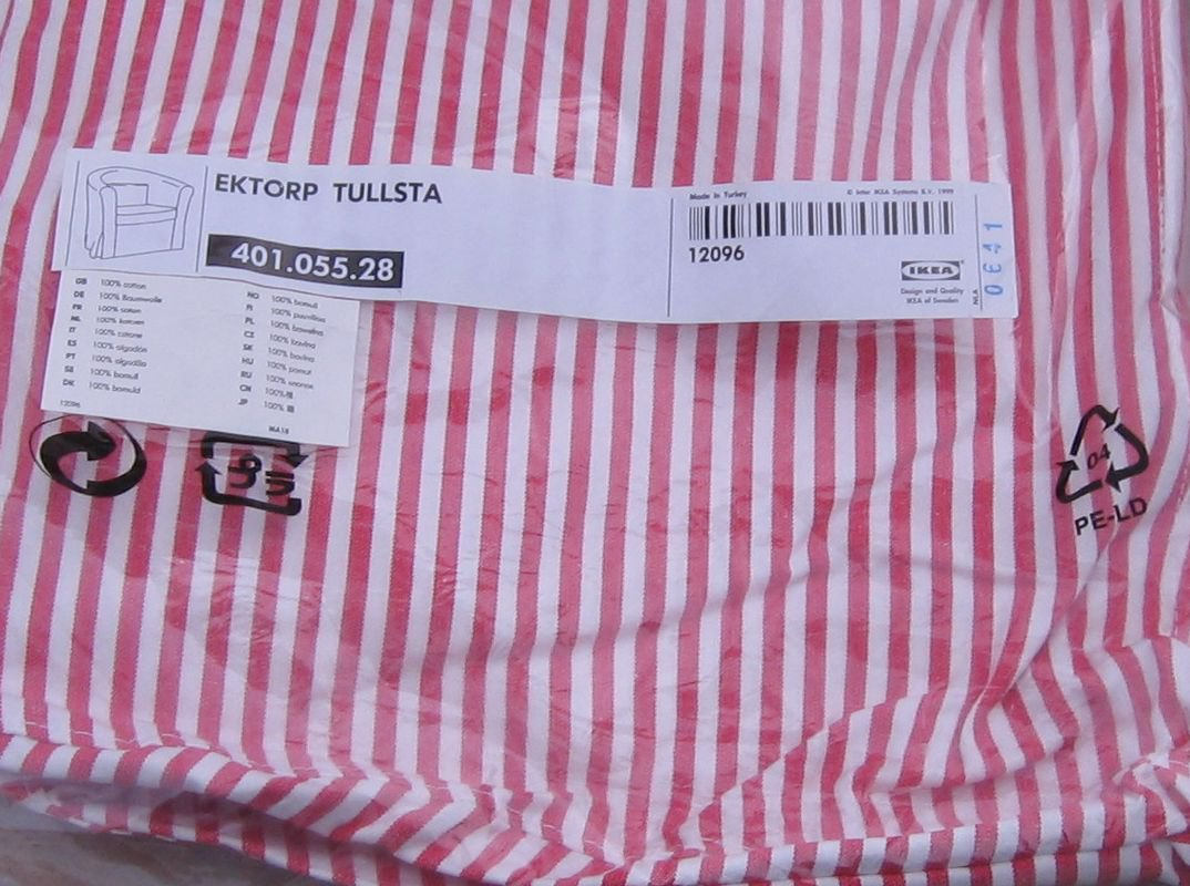 IKEA EKTORP TULLSTA Armchair SLIPCOVER Chair Cover SIMRIS RED White Stripes