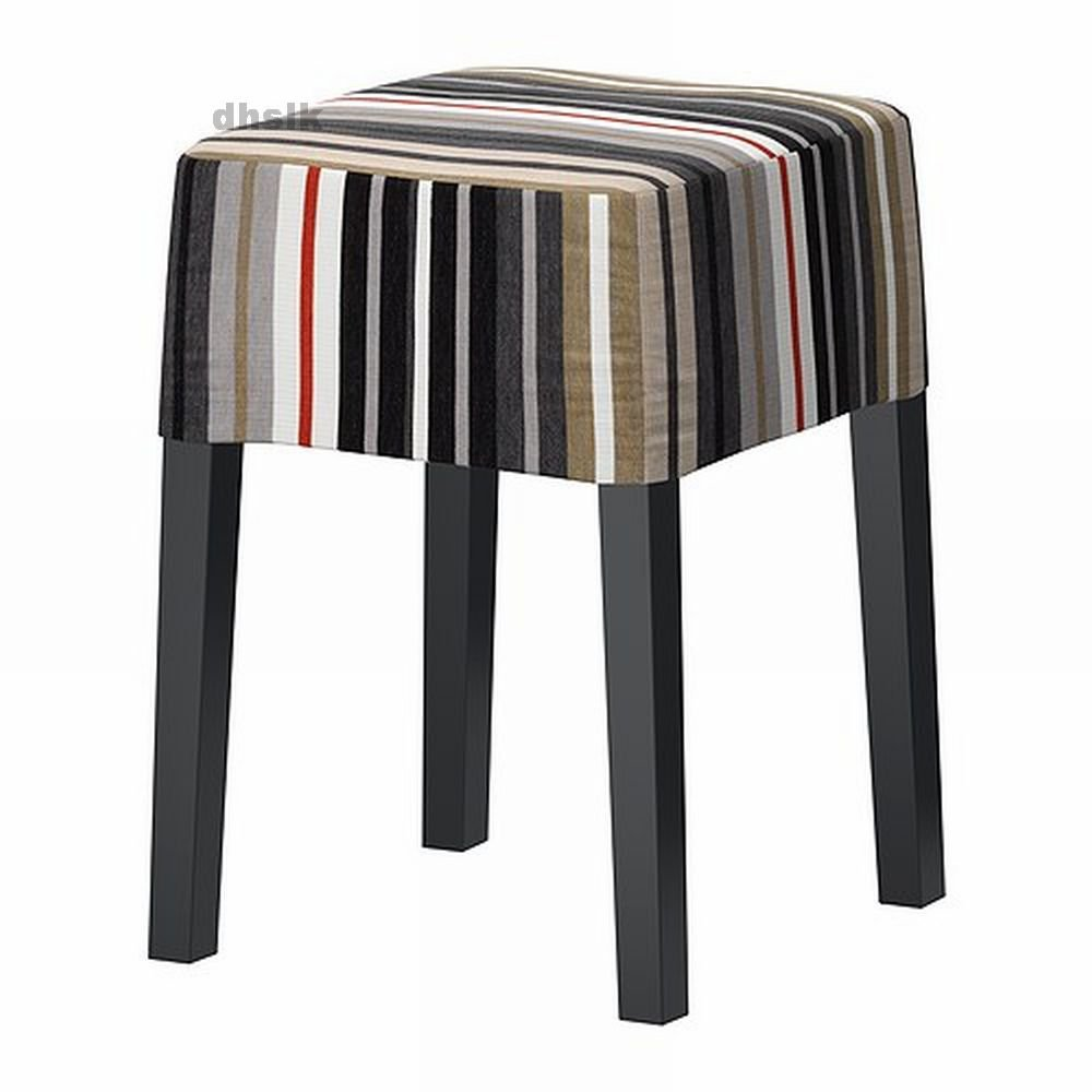Ikea Stool Red: IKEA NILS Footstool SLIPCOVER Cover DILLNE STRIPES Black
