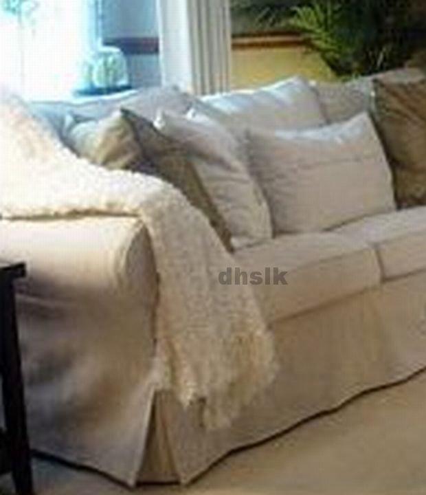 IKEA EKTORP 3 Seat Sofa SLIPCOVER Cover SVANBY BEIGE Linen Blend