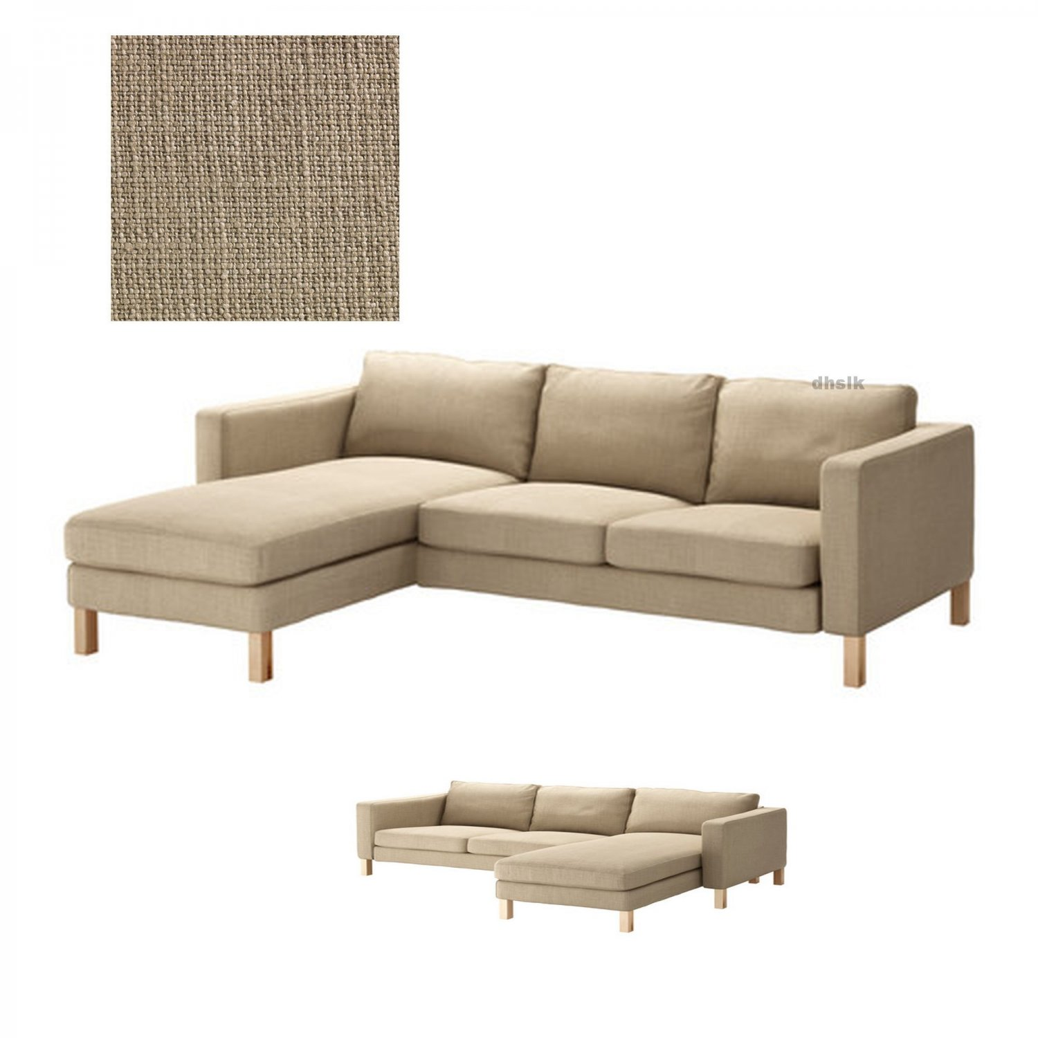 Ikea karlstad 2 seat loveseat sofa and chaise slipcover cover lindo beige lind add on Ikea karlstad sofa