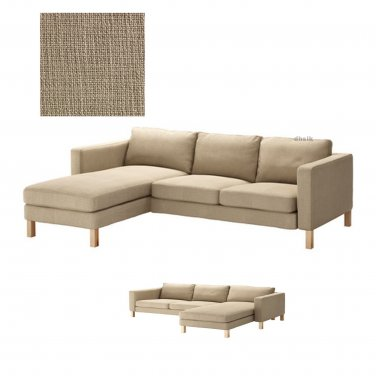 Ikea karlstad 2 seat loveseat sofa and chaise slipcover cover lindo beige lind add on - Ikea chaise lounge cover ...