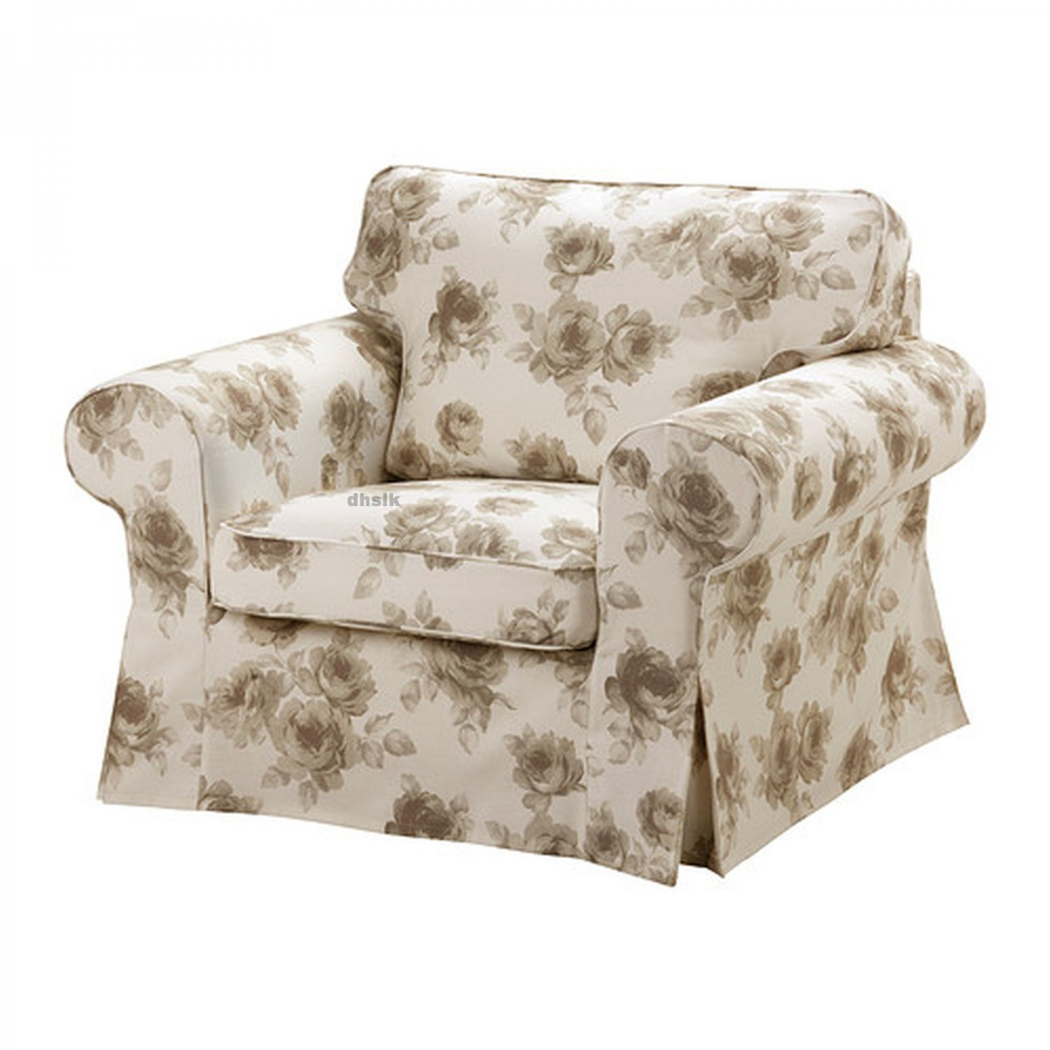 ikea ektorp armchair slipcover cover norlida beige white floral. Black Bedroom Furniture Sets. Home Design Ideas