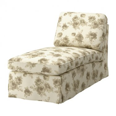 IKEA EKTORP Free-Standing Chaise COVER Slipcover NORLIDA BEIGE White FLORAL
