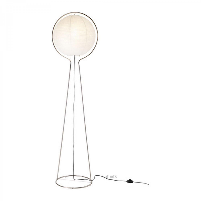 Ikea Vate White Floor Lamp Light Paper Nickel V 196 Te Modern