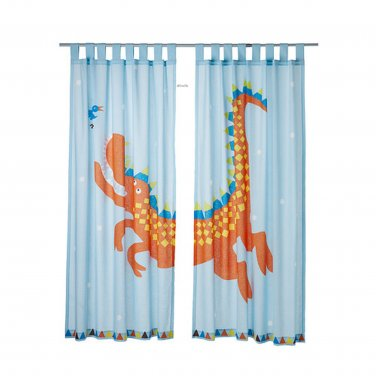 Ikea Heltokig Dragon Dinosaur Curtains Blue Girl Boy Children