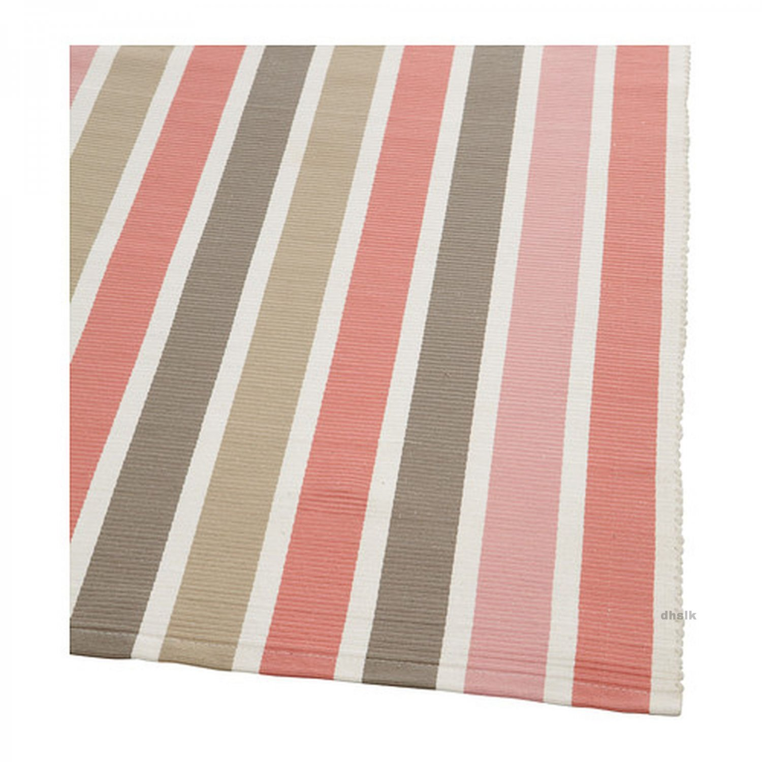 Ikea Emmie Pink Beige White Stripes Area Throw Runner Rug