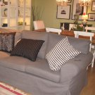 IKEA EKTORP Loveseat with Chaise COVER Slipcover SVANBY GRAY Grey Linen Blend