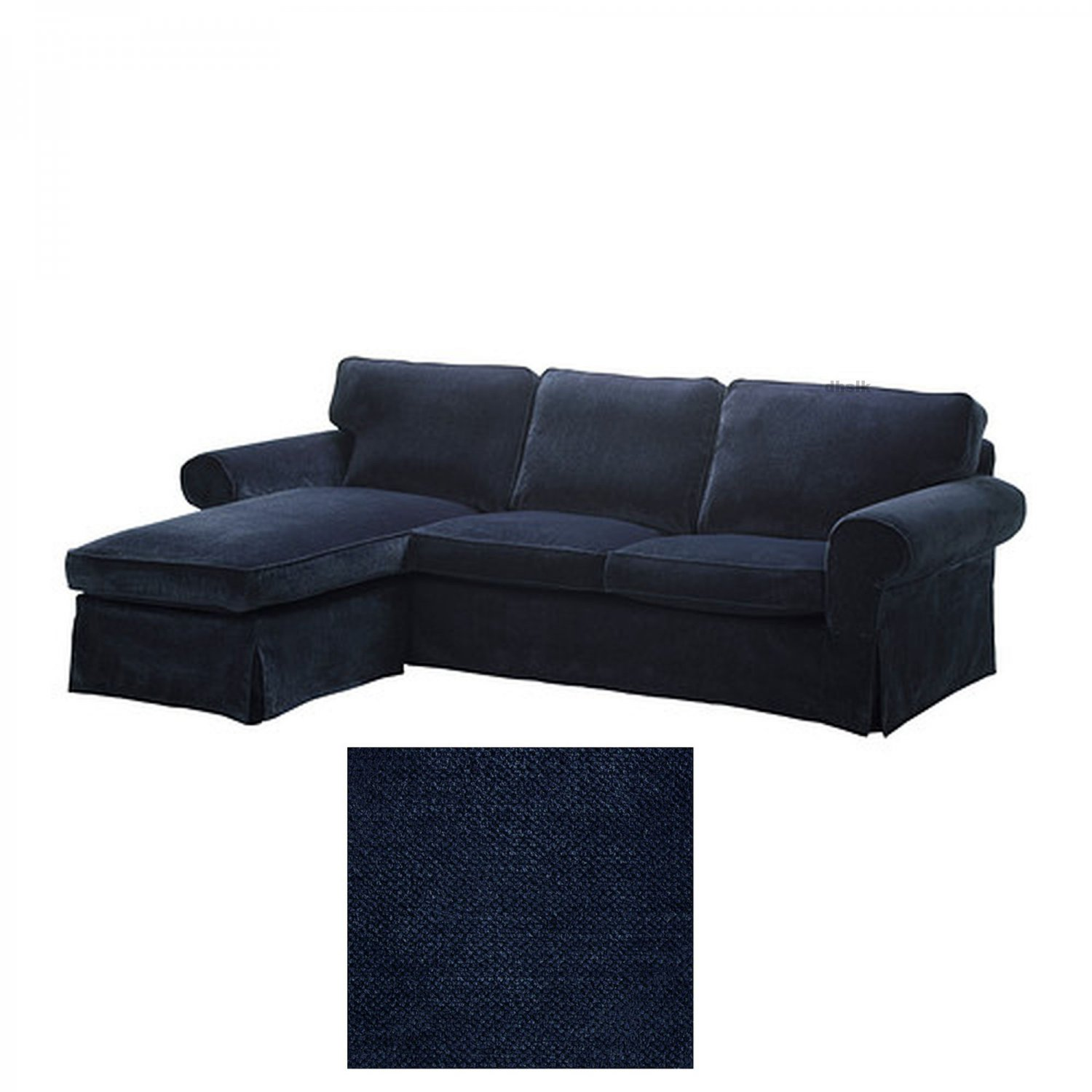 ikea ektorp loveseat sofa with chaise cover slipcover vellinge dark blue. Black Bedroom Furniture Sets. Home Design Ideas
