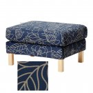 IKEA Karlstad Footstool Ottoman SLIPCOVER Cover BLADAKER BLUE Beige Bladåker