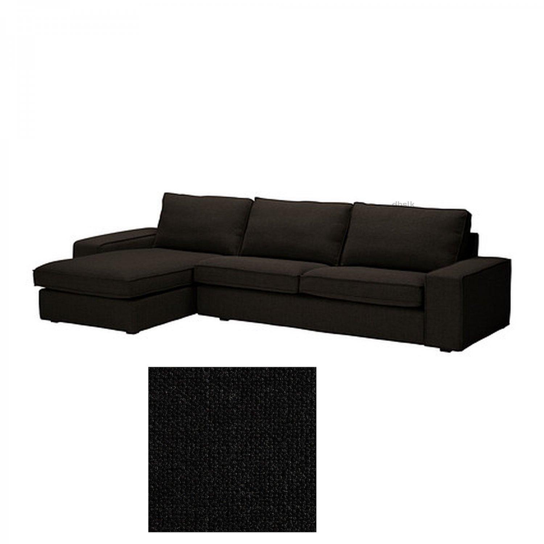 IKEA Kivik 3 Seat Sofa w Chaise Longue SLIPCOVER Cover TENO BLACK Tenö