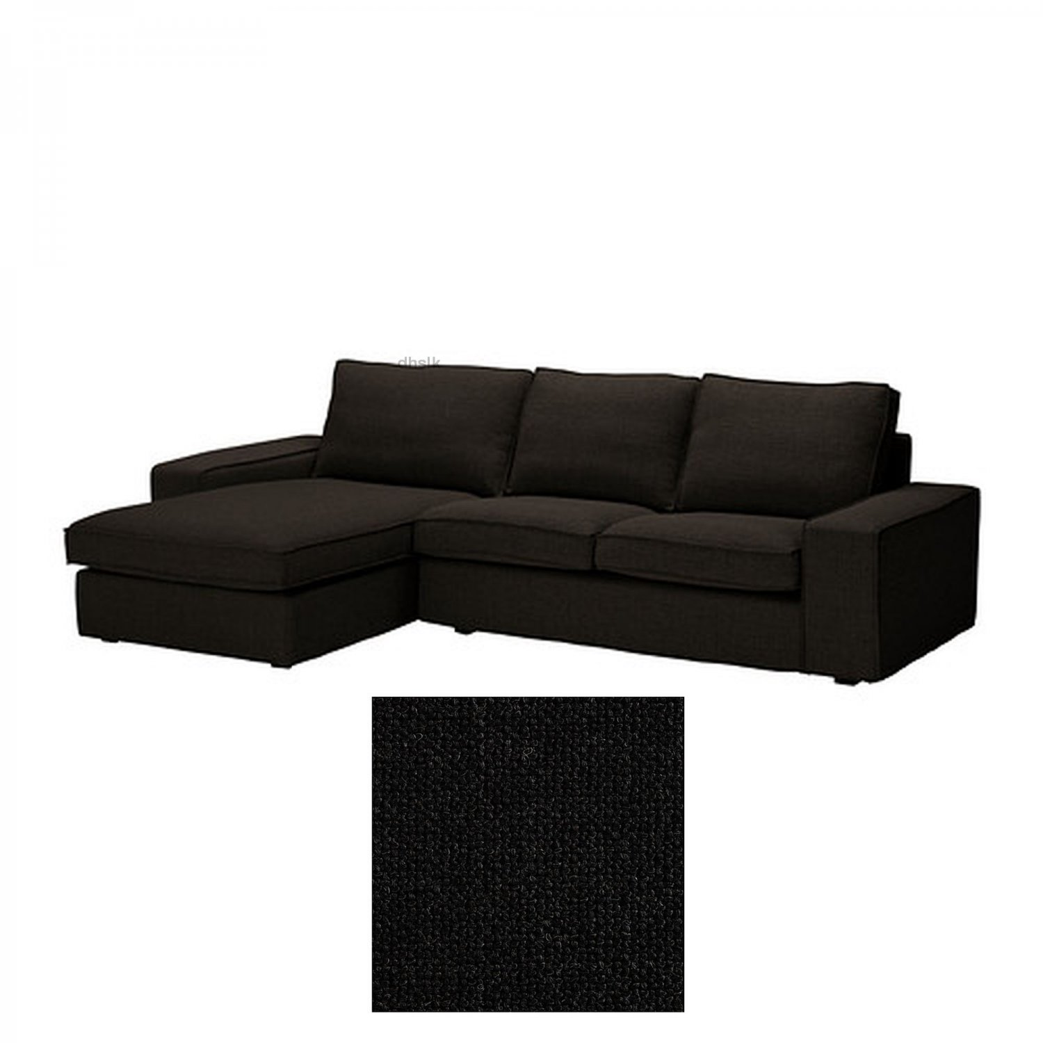 Ikea Kivik 2 Seat Loveseat Sofa W Chaise Longue Slipcover Cover Teno Black Ten