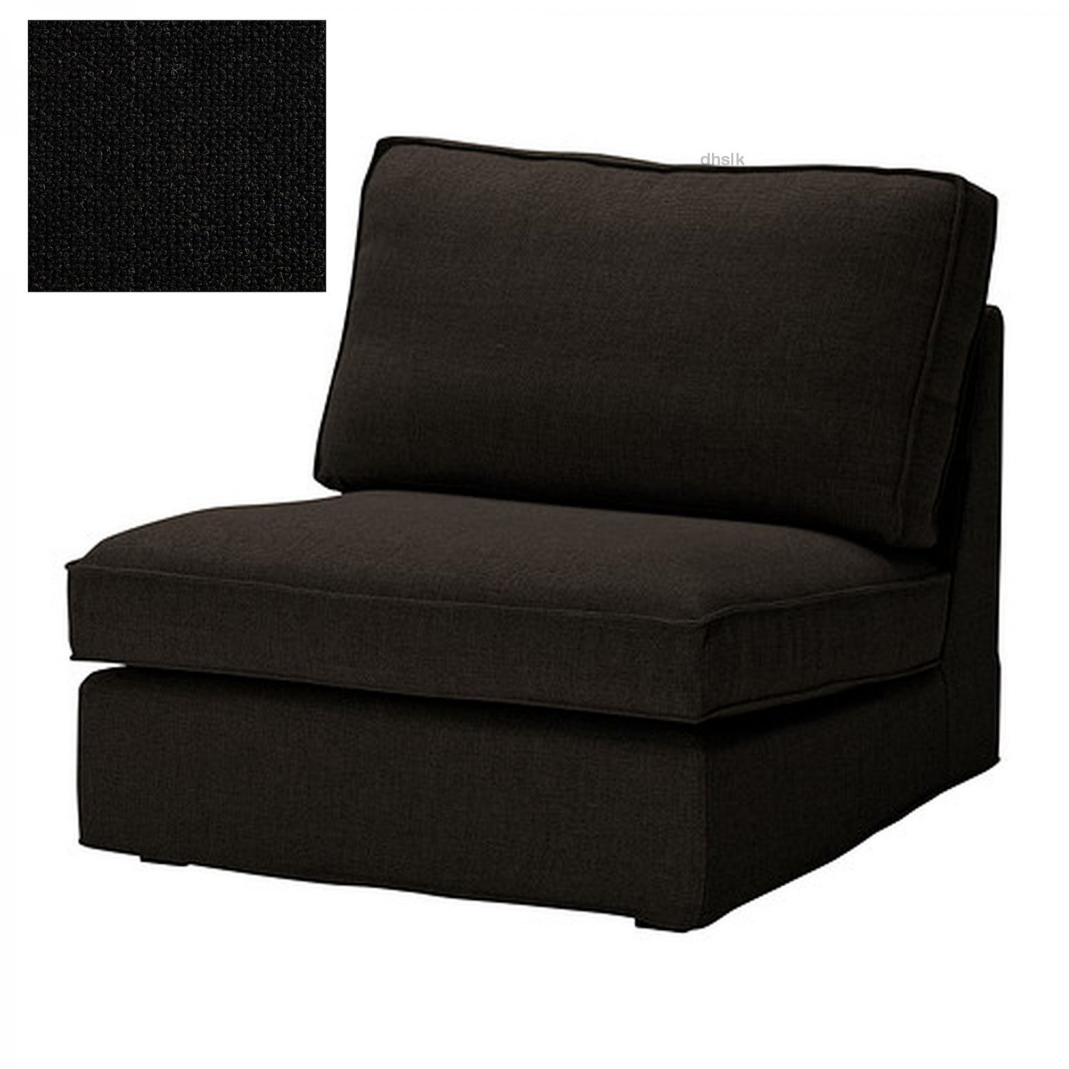 ikea kivik 1 one seat sectional chair slipcover cover teno black ten. Black Bedroom Furniture Sets. Home Design Ideas