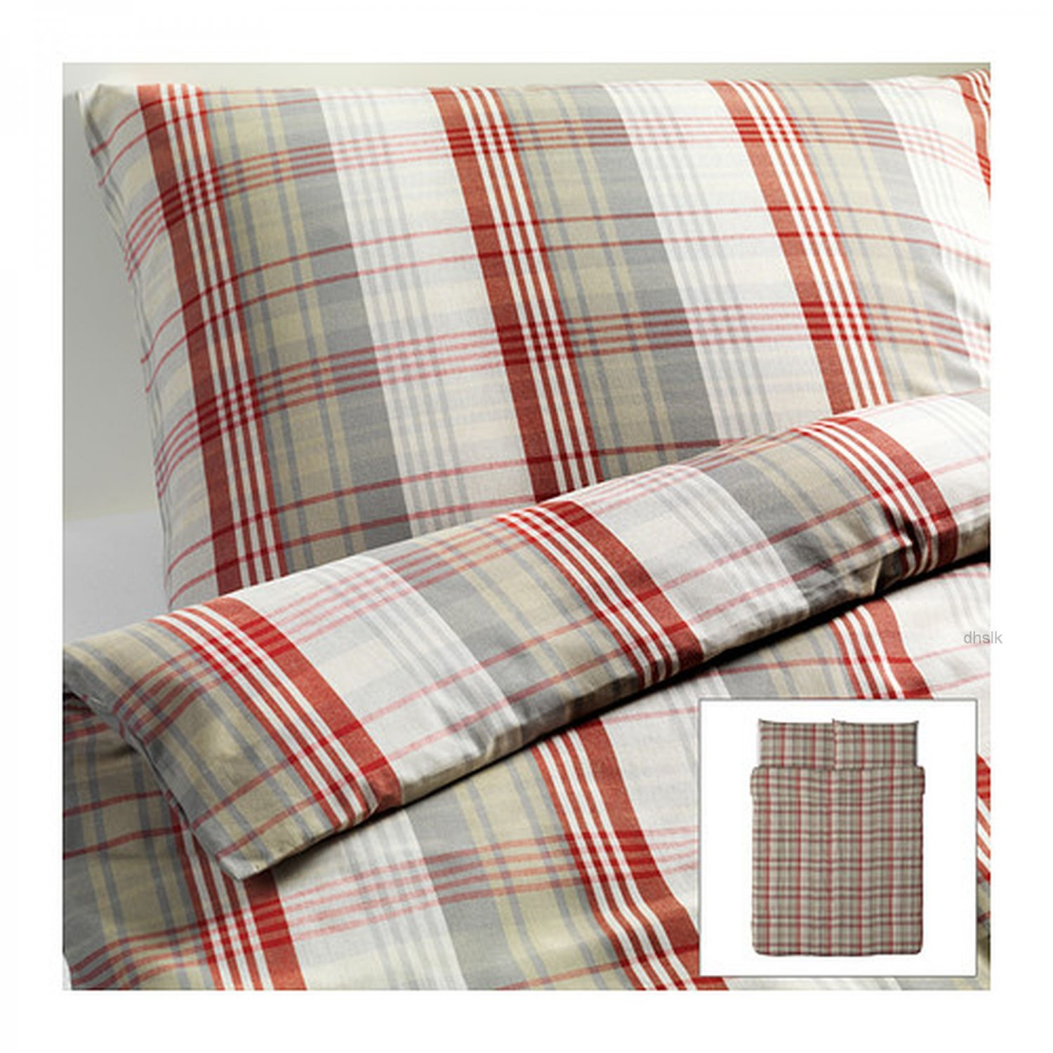 Ikea Benzy Queen Full Duvet Cover Set Red Beige Plaid Yarn
