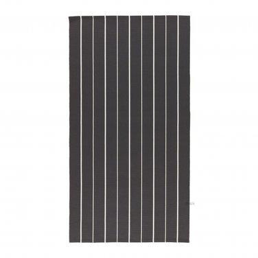 Ikea Soften Black White Stripes Area Throw Rug Mat