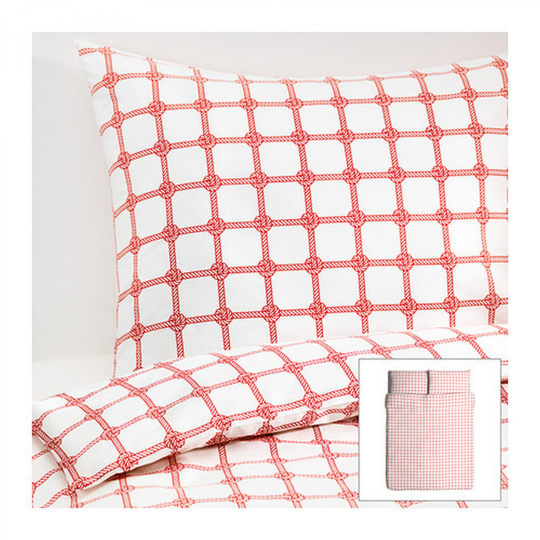 IKEA LISEL Red White QUEEN Full Double DUVET COVER Pillowcases Set ROPE KNOT Design Nautical