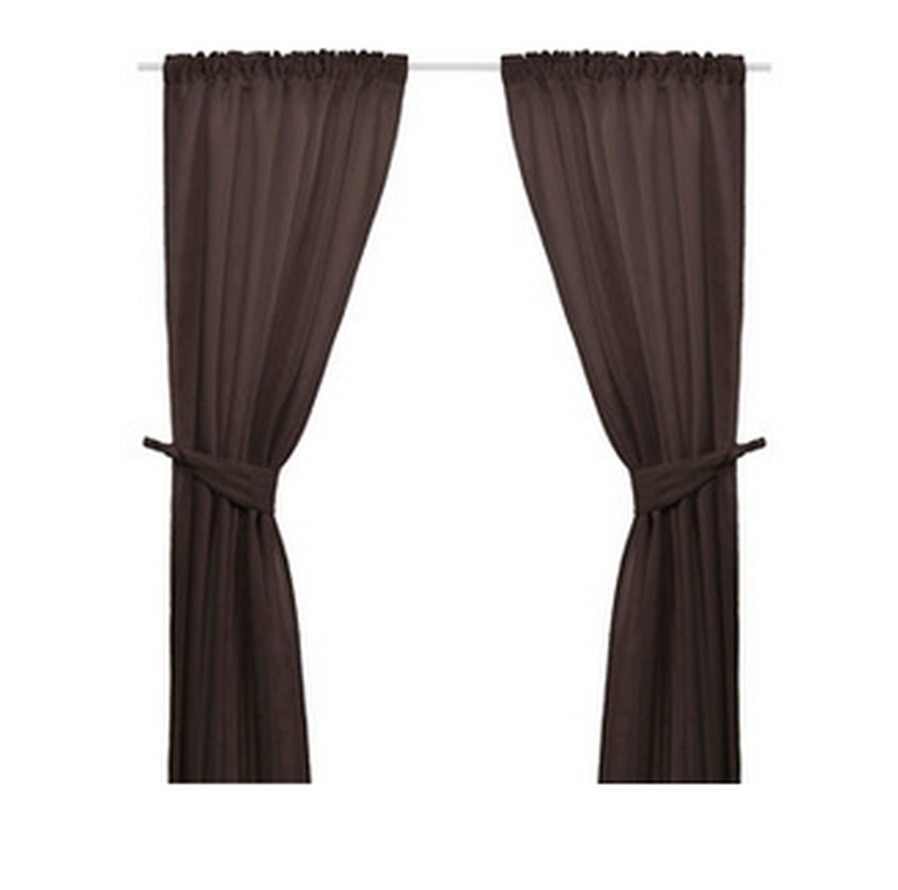 Ikea Anita Brown Curtains With Tie Backs 98 Quot Jacqiard