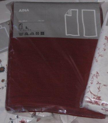 "IKEA Aina Curtains Drapes DARK RED Linen 118"" LONG Rust Merlot"
