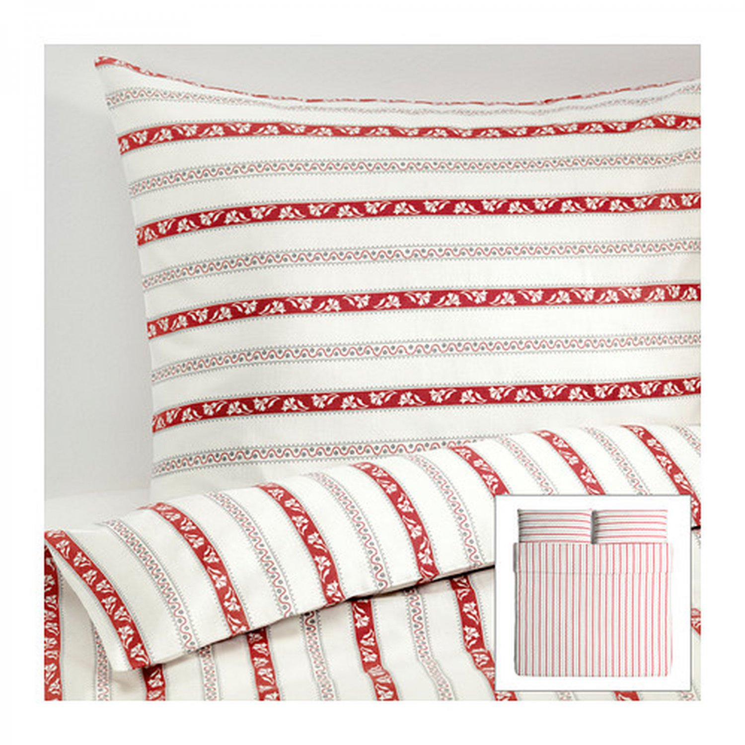 IKEA P�RLHYACINT KING Parlhyacint DUVET COVER Set STRIPES Red Gray Yellow Yarn Dyed SOFT