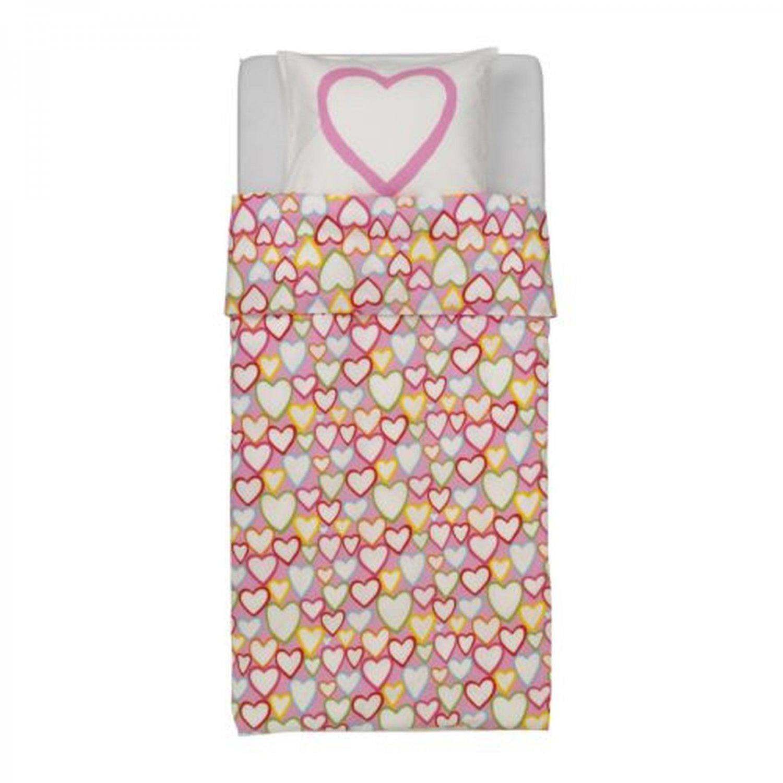 IKEA Vitaminer Hjarta Pink HEARTS TWIN Duvet COVER Pillowcase Set HJ?RTA Multicolor Modern Family