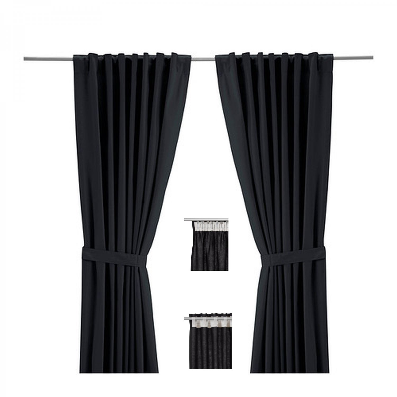 Ikea ritva black curtains drapes heavy cotton 98 for Ikea curtain rods uk