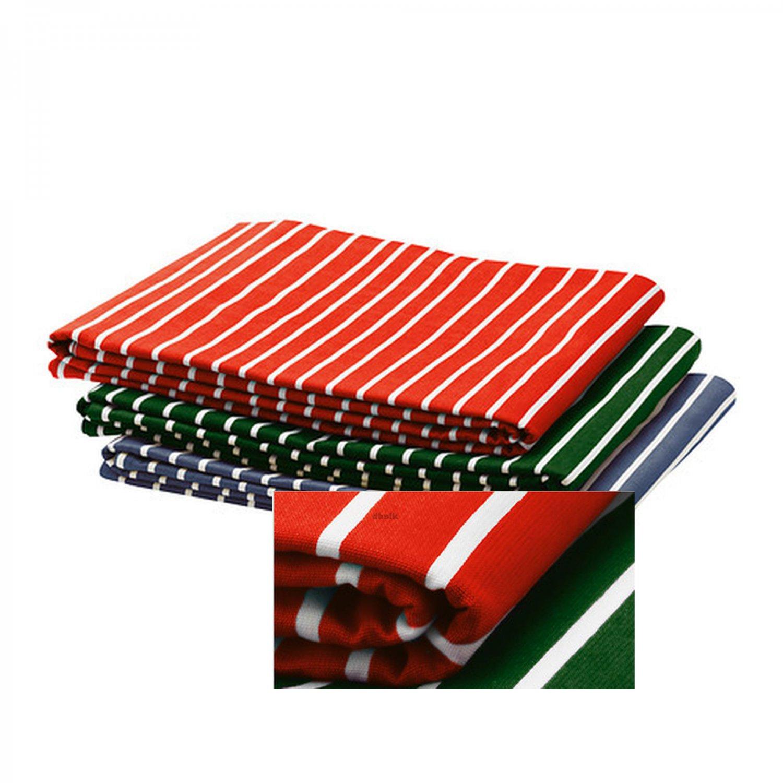 IKEA GL�NTA TABLECLOTH DARK GREEN White Stripes Cotton GLANTA Textile Fabric