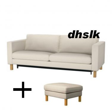 IKEA KARLSTAD Sofa Bed And Footstool SLIPCOVERS Sofabed Ottoman Covers  LINNERYD NATURAL Beige