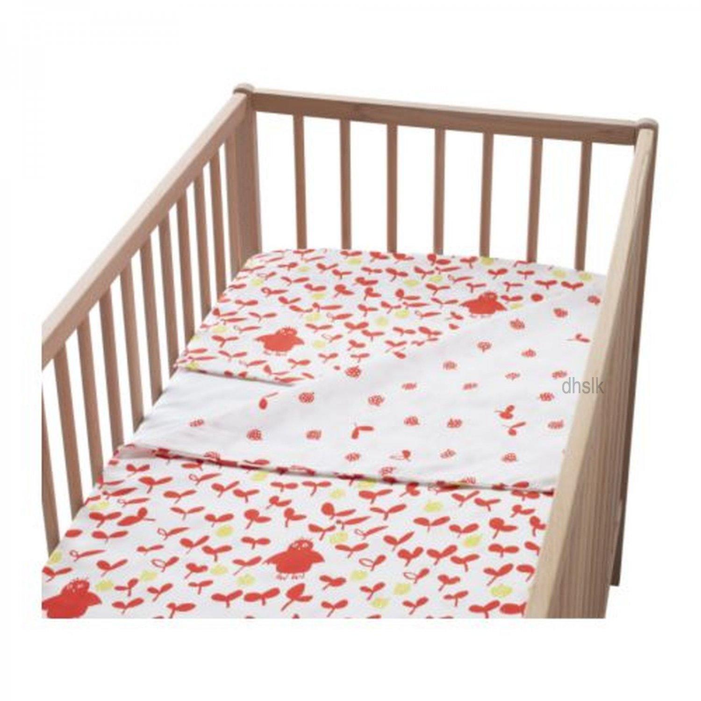 IKEA VILDA UGGLA Orange Owl CRIB Duvet COVER Pillowcase SET Nursery Bedding