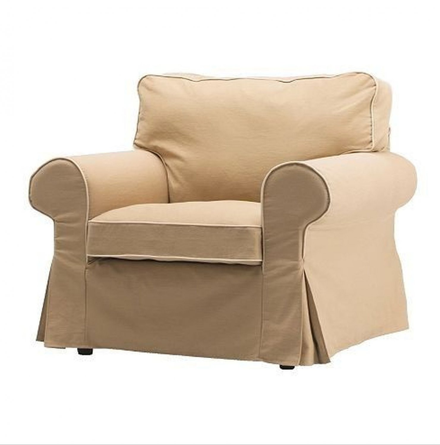 new ikea ektorp armchair slipcover cover idemo beige w piping. Black Bedroom Furniture Sets. Home Design Ideas
