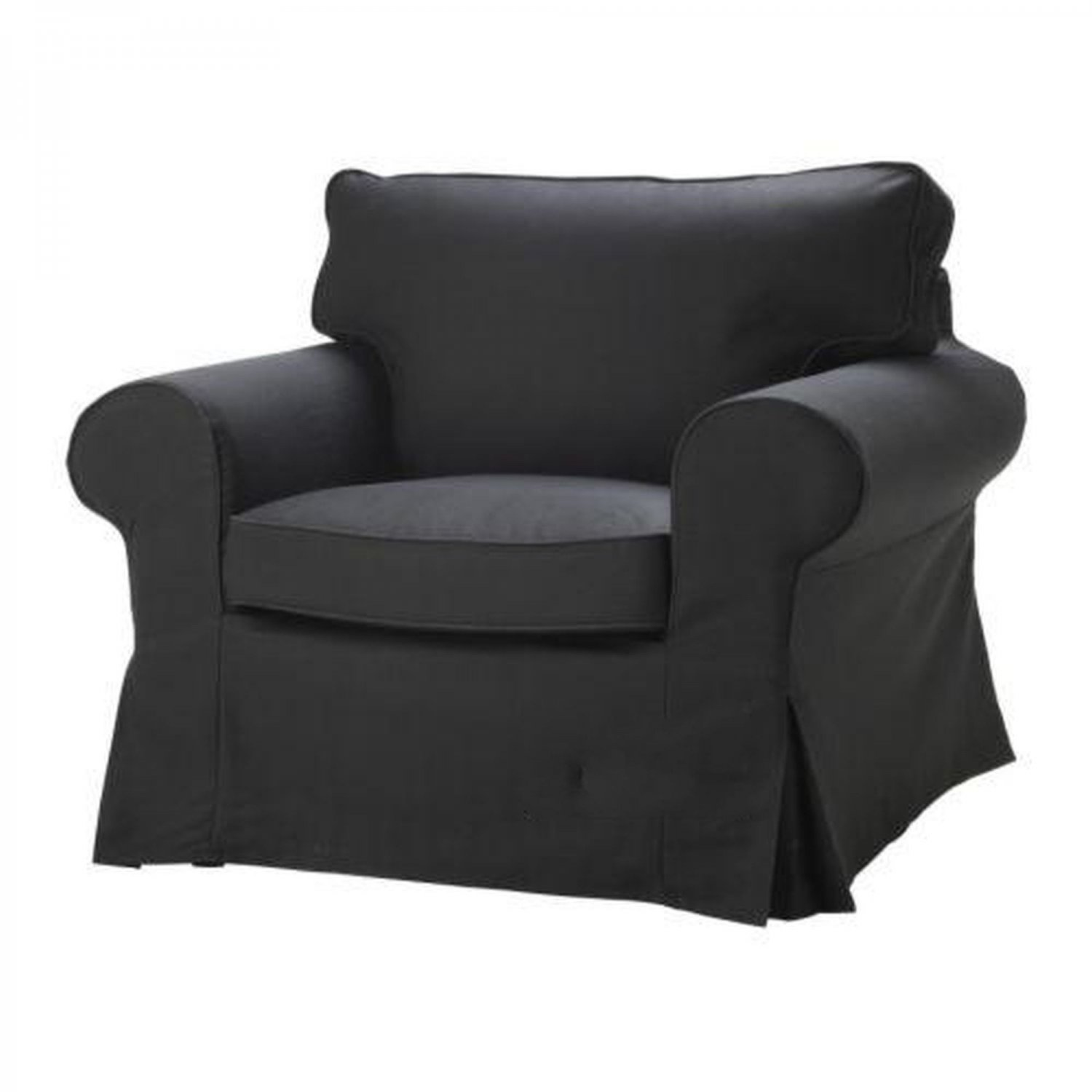 ikea ektorp armchair slipcover idemo black chair cover cotton. Black Bedroom Furniture Sets. Home Design Ideas