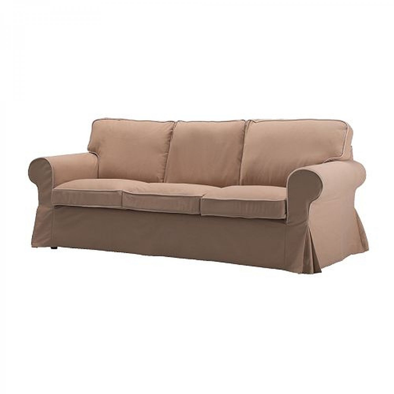 Ikea Ektorp 3 Seat Sofa Slipcover Cover Idemo Beige W Piping