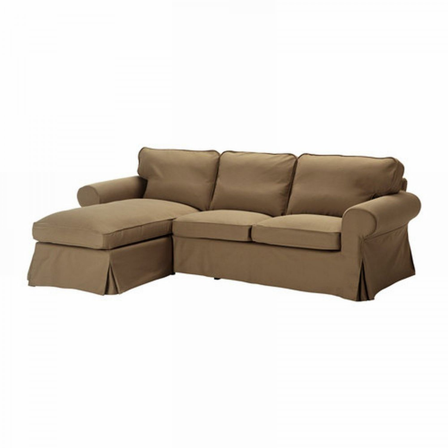 ikea ektorp loveseat sofa with chaise cover slipcover idemo light brown cotton. Black Bedroom Furniture Sets. Home Design Ideas