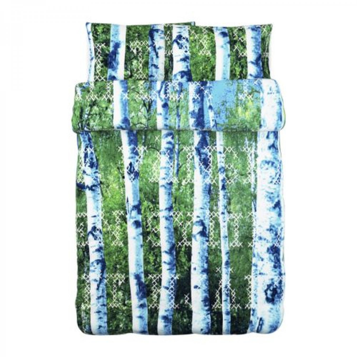 IKEA Unni Trad QUEEN Full DUVET COVER Set FOREST Trees Birch Photographic BOY SCOUT TR�D