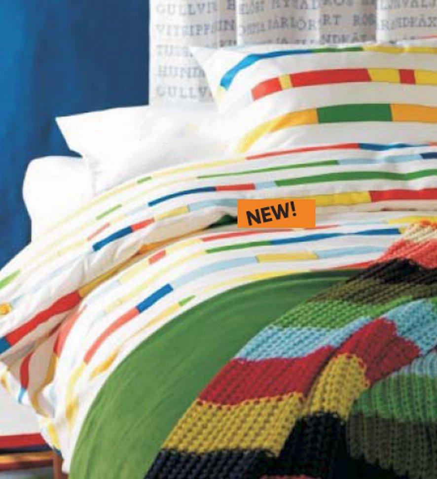 Ikea UNNI BJ�RK Bjork KING DUVET COVER Set RETRO Modern COLOR BAND