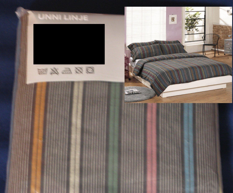 IKEAIkea UNNI LINJE Stripes KING DUVET COVER and Pillowcases Set GREY Gray MODERN