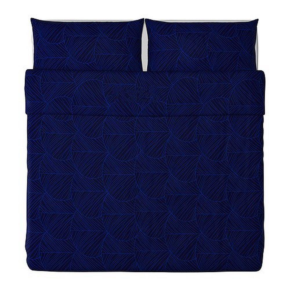 IKEA GULDLIN BLAD KING Duvet COVER Pillowcases Set BLUE Leaf MODERN