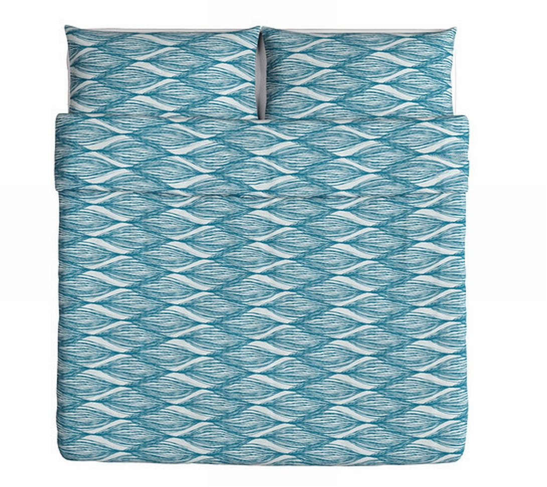 Ikea Malin Blad King Duvet Cover Pillowcases Set Blue