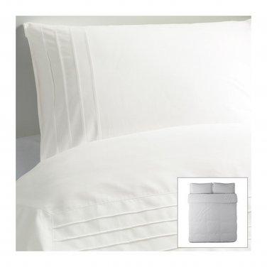 IKEA ALVINE STRA WHITE Pleated KING DUVET COVER and Pillowcases Set
