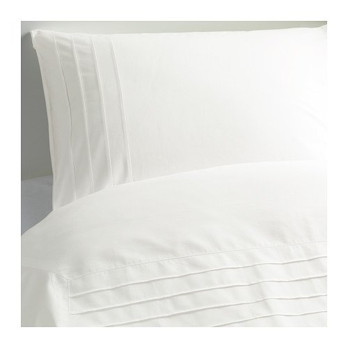 IKEA ALVINE STRA Snow WHITE Pleated DUVET COVER QUEEN