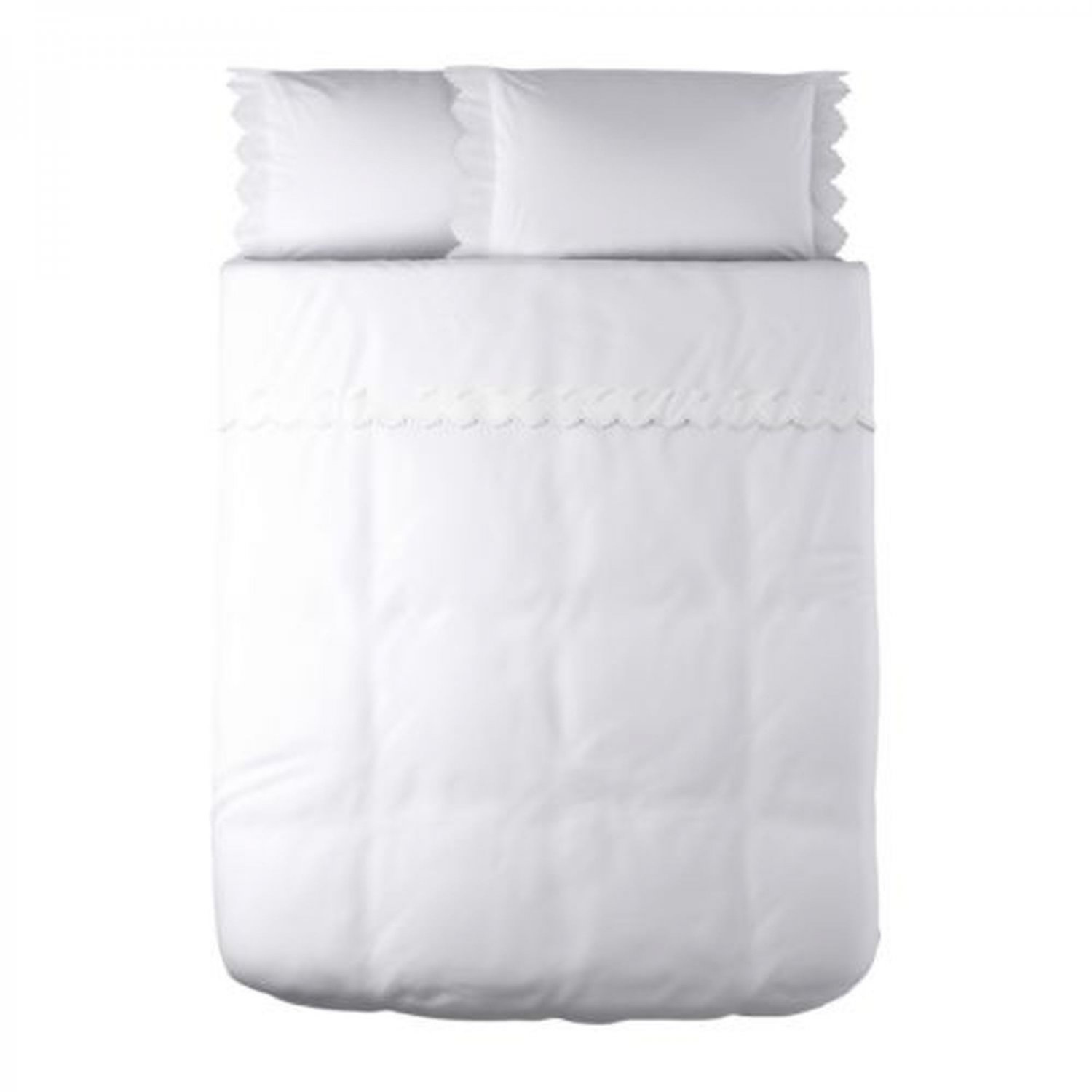 ikea alvine brodyr white embroidered duvet cover queen scalloped edge victorian. Black Bedroom Furniture Sets. Home Design Ideas