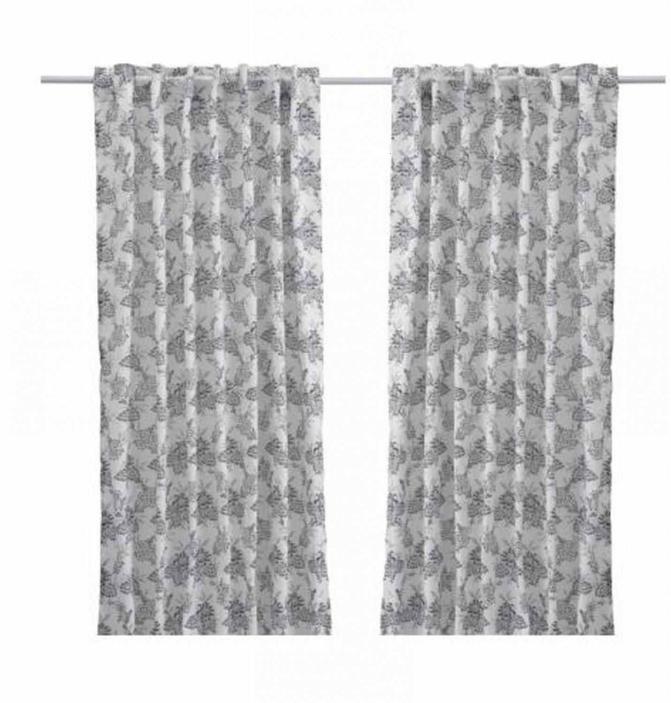 Ikea Alvine Bukett Drapes Curtains Floral Black White Leaf