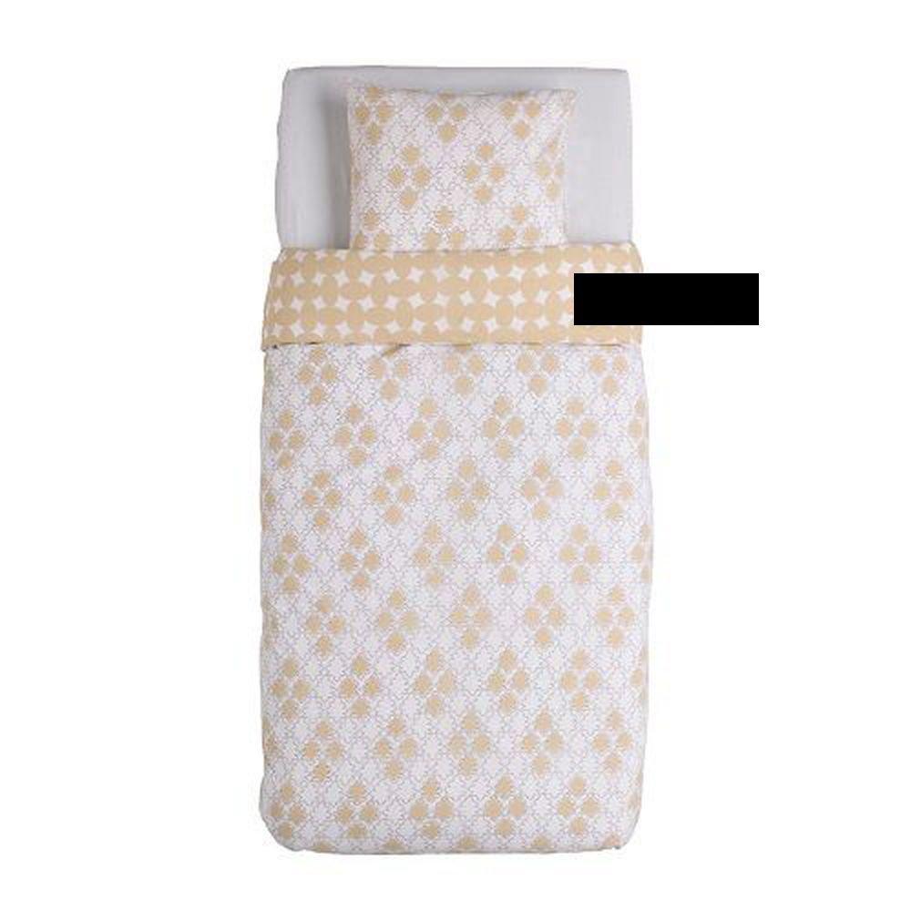 Ikea Kilan Medaljong Twin Duvet Cover Set Sand Beige White