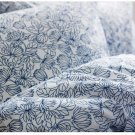 IKEA Bladvass QUEEN Double Duvet COVER Set BLUE White FLORAL Full