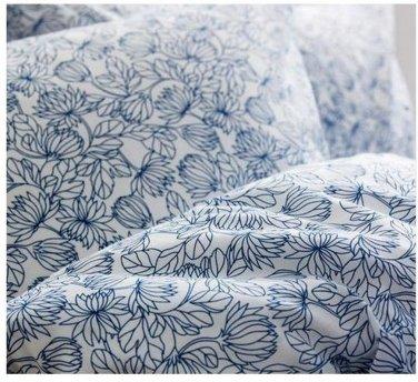 Ikea Bladvass Queen Double Duvet Cover Set Blue White Floral Full