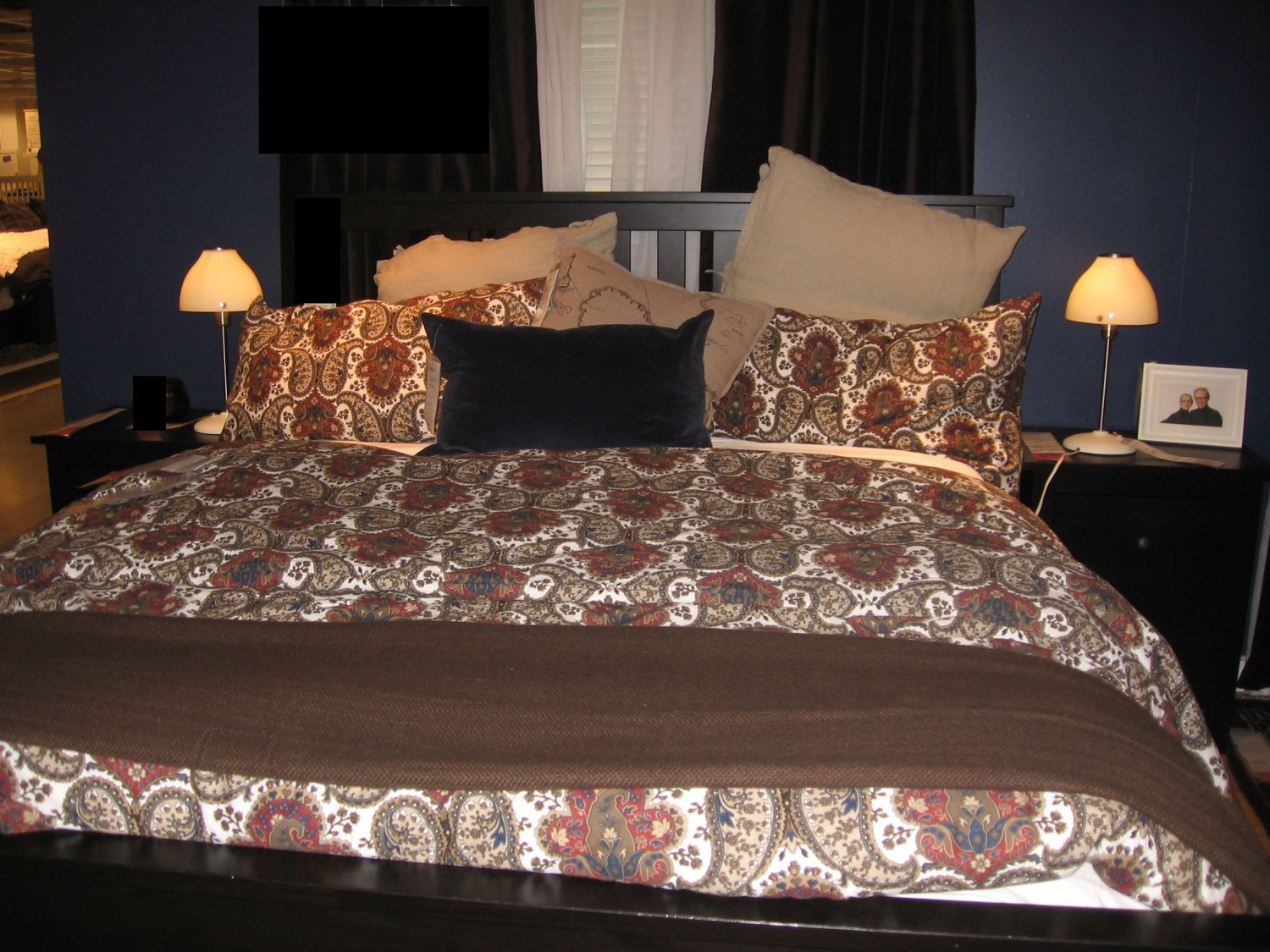 Ikea backs ta queen full paisley duvet cover pillowcase for Ikea bed covers sets queen