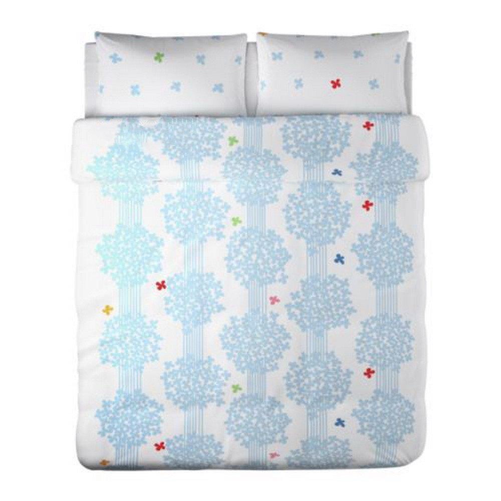 Ikea Hedda Lov Blue White King Duvet Cover Pillowcases Set