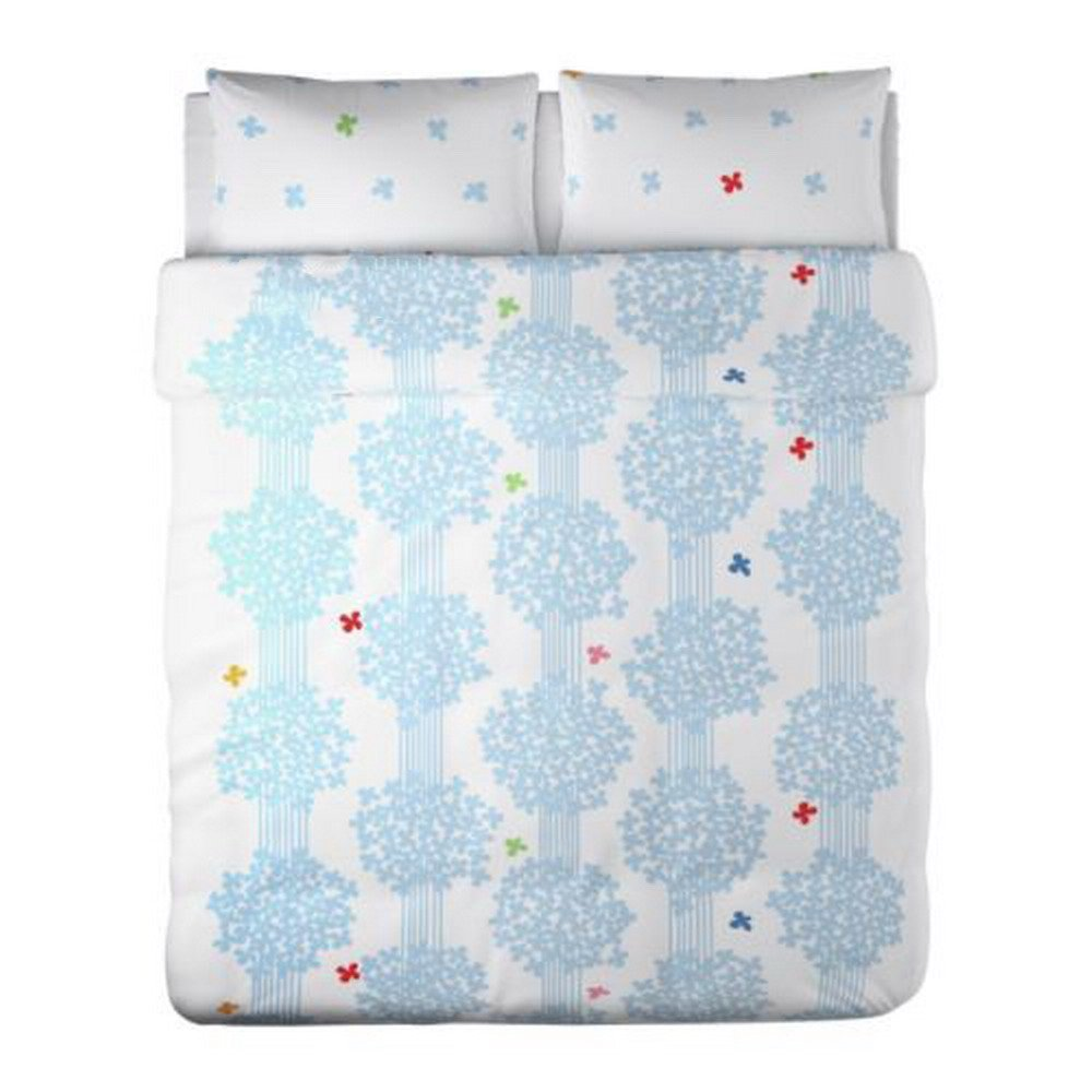 IKEA Hedda Lov BLUE White KING DUVET COVER Pillowcases Set ROMANTIC L�V